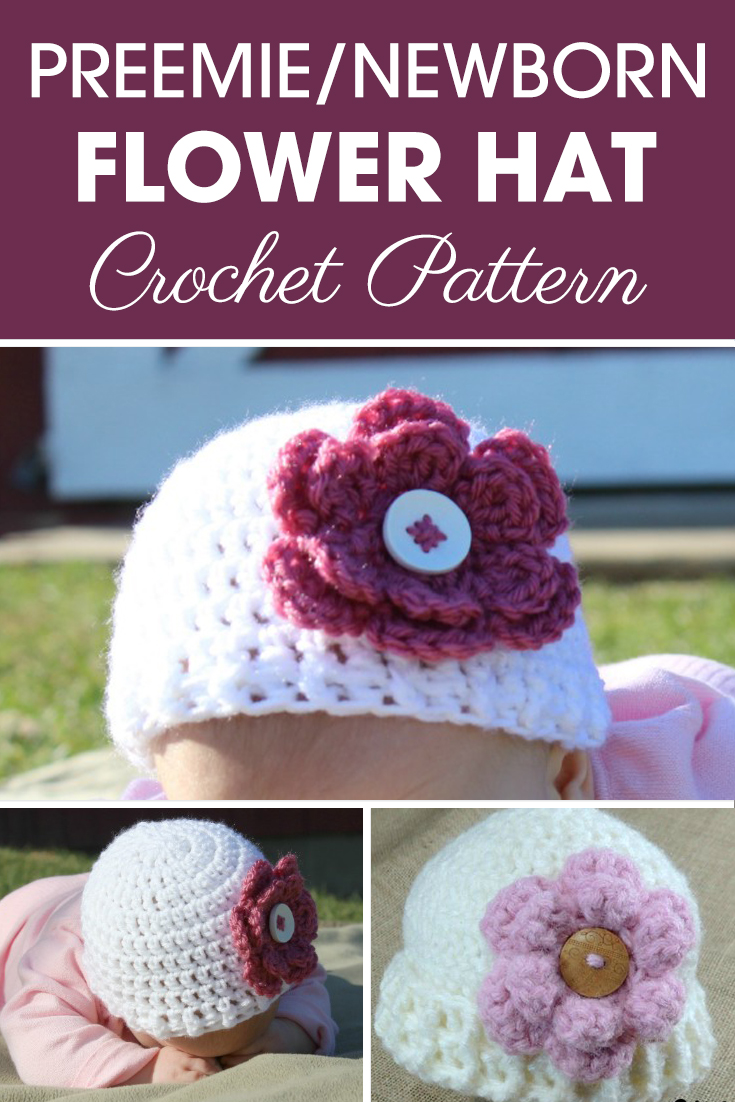 Make sure to tell people about this adorable Preemie/Newborn Flower Hats pattern! Maybe even consider donating a hat to charity. It comes in 4 different sizes with edging, and has a cute flower pattern along with it! #crochet #crochetlove #crochetaddict #crochetpattern #crochetinspiration #ilovecrochet #crochetgifts #crochet365 #addictedtocrochet #yarnaddict #yarnlove #crochethat