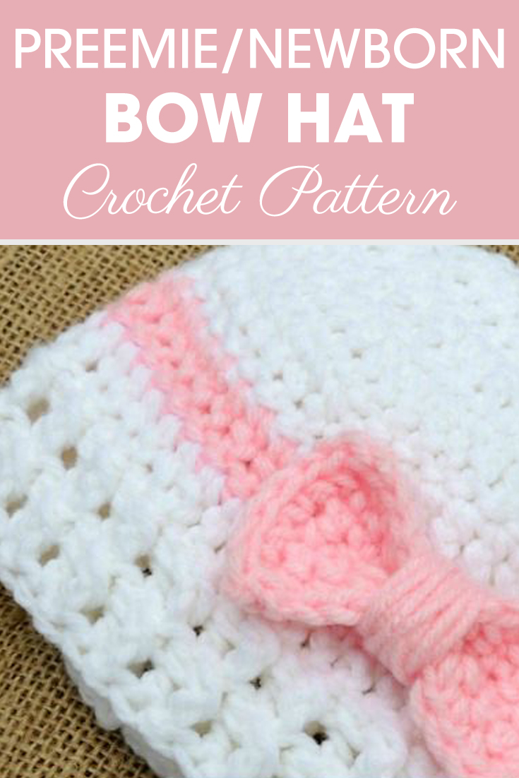 Doesn't this cute preemie/newborn bow hat look like a present? It has a cute bow that wraps around like on a present with lacy ribbing! #crochethat