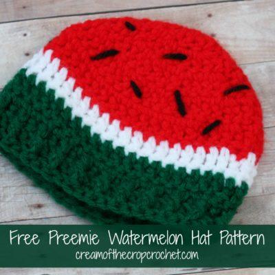 Preemie Newborn Watermelon Hat Crochet Pattern