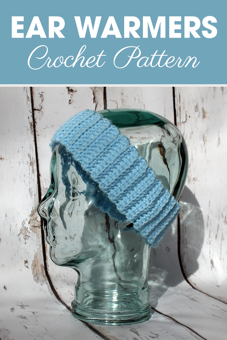 This ribbed ear warmers pattern is quick and easy! Need a fast last minute addition to your craft show table? Last minute gift? Whip this ear warmers pattern up in less than 20 minutes! #crochet #crochetlove #crochetaddict #crochetpattern #crochetinspiration #ilovecrochet #crochetgifts #crochet365 #addictedtocrochet #yarnaddict #yarnlove #earwarmers