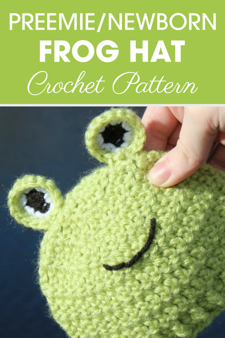 Make sure to tell people about this adorable preemie/newborn frog hats! Maybe even consider donating a hat to charity. It comes in 4 different sizes with ribbed edging, and when you are finished, you have made a cute little frog! #crochet #crochetlove #crochetaddict #crochetpattern #crochetinspiration #ilovecrochet #crochetgifts #crochet365 #addictedtocrochet #yarnaddict #yarnlove #crochethat