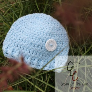 Cream Of The Crop Crochet ~ Preemie/Newborn Button Hat {Free Crochet Pattern}