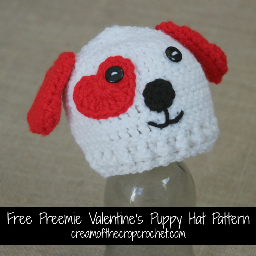 Cream Of The Crop Crochet ~ Preemie Valentine's Puppy Hat {Free Crochet Pattern}