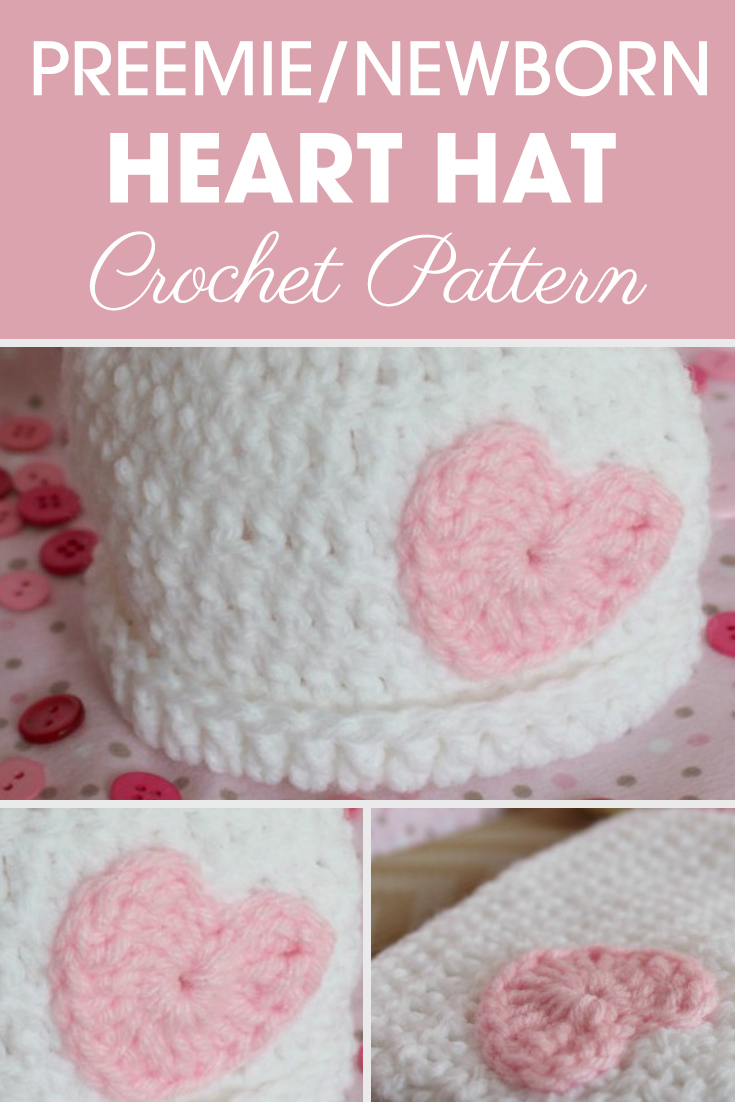 What a precious preemie/newborn heart hats pattern?! This hat is very simple and cute. #crochet #crochetlove #crochetaddict #crochetpattern #crochetinspiration #ilovecrochet