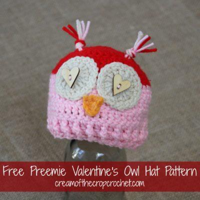 Preemie Newborn Valentine's Owl Hat Crochet Pattern