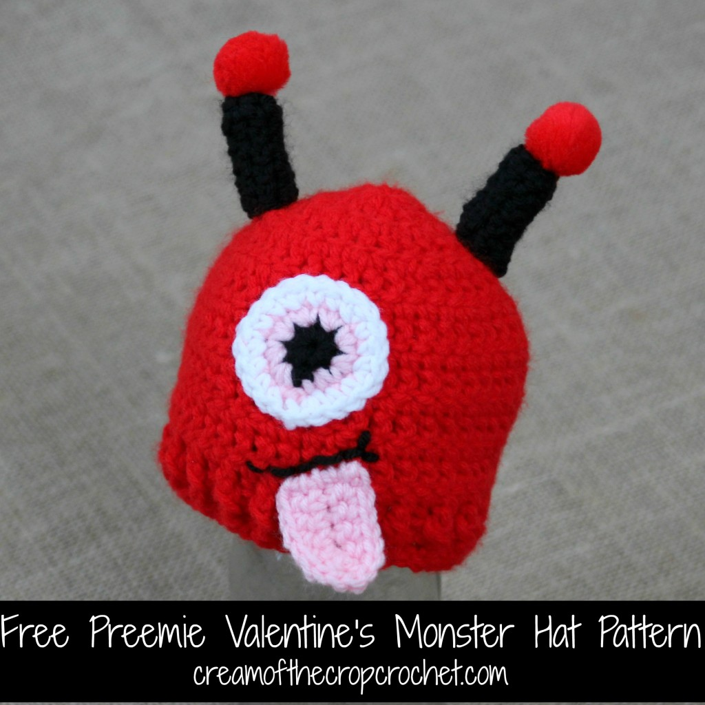 Cream Of The Crop Crochet ~ Preemie Valentine's Monster Hat {Free Crochet Pattern}
