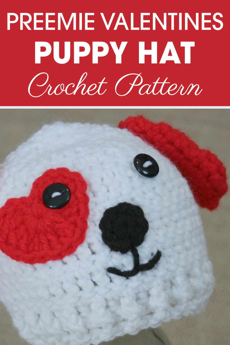 Is this your favorite Valentine's pattern so far? It's my favorite! I love this Preemie/Newborn Valentine's Puppy Hats pattern! #crochet #crochetlove #crochetaddict #crochetpattern #crochetinspiration #ilovecrochet #crochetgifts #crochet365 #addictedtocrochet #yarnaddict #yarnlove #crochethat