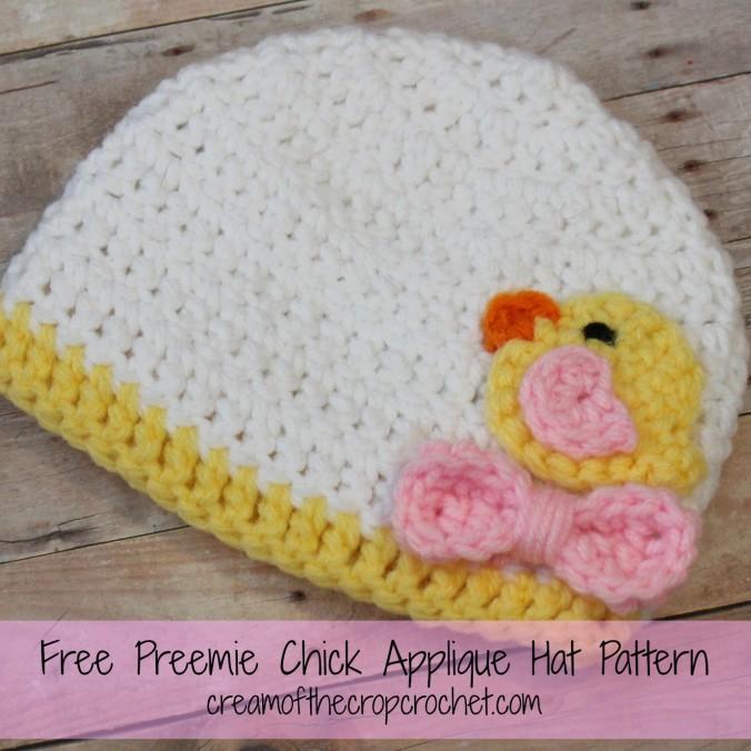 Cream Of The Crop Crochet ~ Preemie Chick Applique Hat {Free Crochet Pattern}