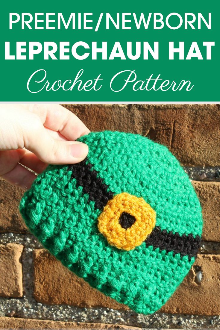St. Patrick's day is less than a month away! Make this Preemie/Newborn Leprechaun hats for a baby in the NICU this year! #crochet #crochetlove #crochetaddict #crochetpattern #crochetinspiration #ilovecrochet #crochetgifts #crochet365 #addictedtocrochet #yarnaddict #yarnlove #crochethat #leprechaunhat #stpatricksday