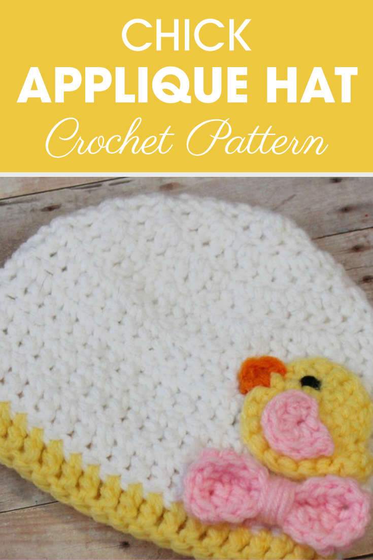Are you looking for one of the cutest spring hats to make? Well you found it. To make this Preemie/Newborn Chick Applique Hats pattern for a boy, just change the light pink to light blue and use 3 different color small buttons in place of the bow! #crochet #crochetlove #crochetaddict #crochetpattern #crochetinspiration #ilovecrochet #crochetgifts #crochet365 #addictedtocrochet #yarnaddict #yarnlove #crochethat #crochetapplique