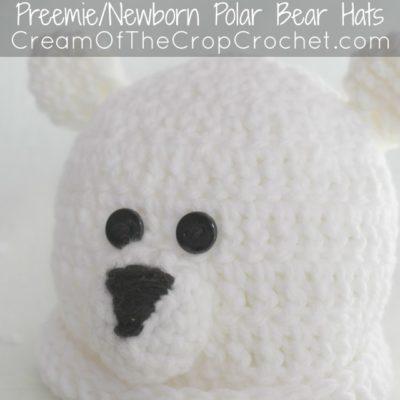 Preemie Newborn Polar Bear Hat Crochet Pattern