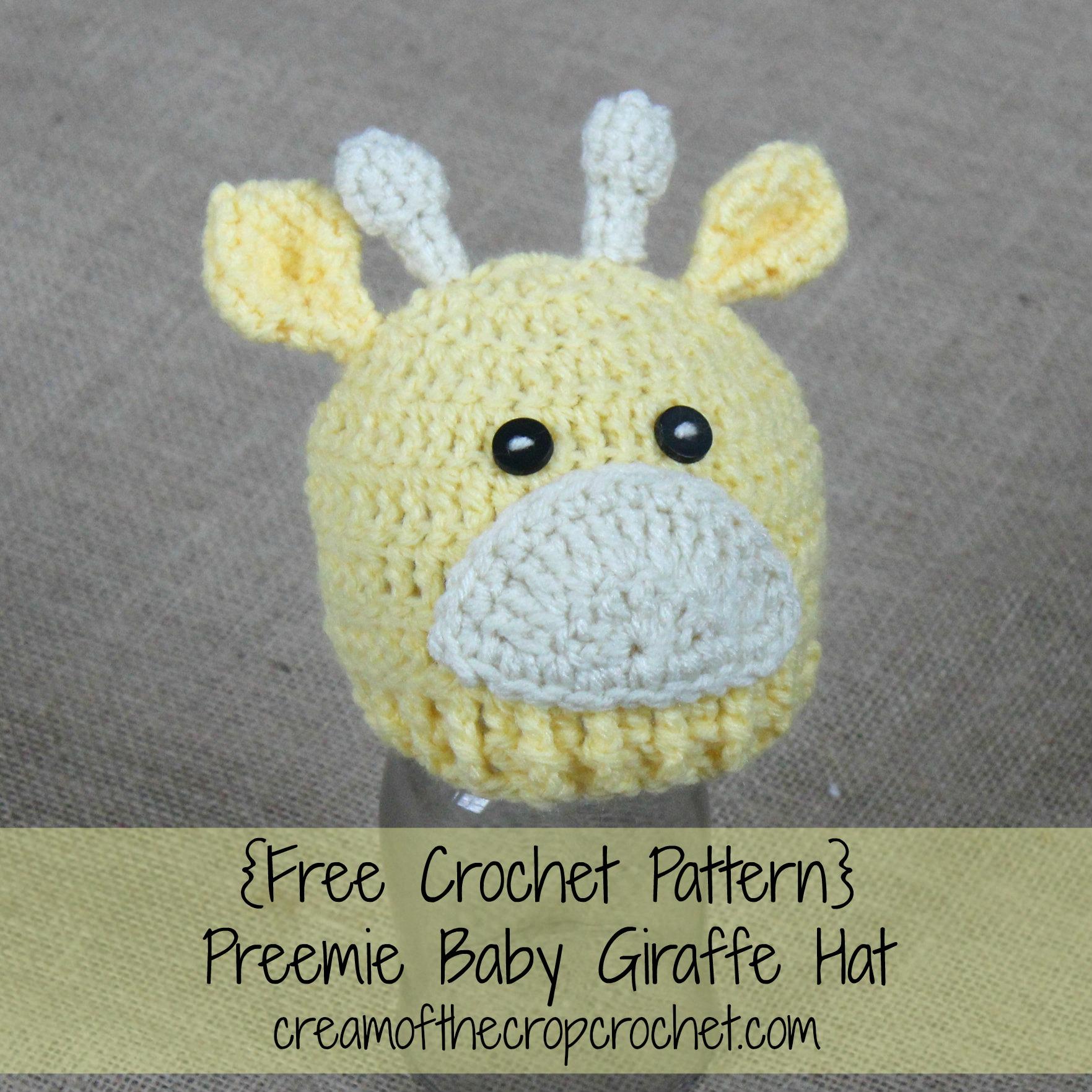 Preemie Newborn Baby Giraffe Hat Crochet Pattern | Cream ...