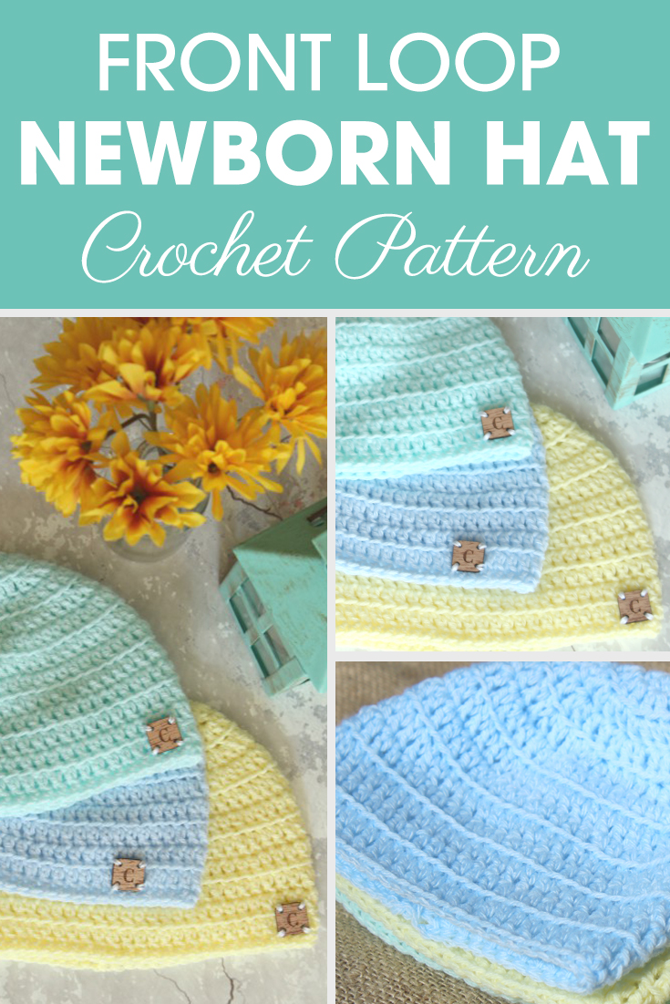 The Front Loop Newborn Hat Crochet Pattern is made up of a fun stitch, although you may need a little help from Ashley with the video tutorial included. #crochet #crochetlove #crochetaddict #crochetpattern #crochetinspiration #ilovecrochet #crochetgifts #crochet365 #addictedtocrochet #yarnaddict #yarnlove #crochethat
