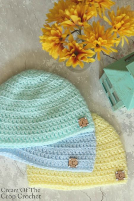Front Loop Newborn Hat Crochet Pattern | Cream Of The Crop Crochet