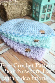Picot Newborn Hat Crochet Pattern   Cream Of The Crop Crochet