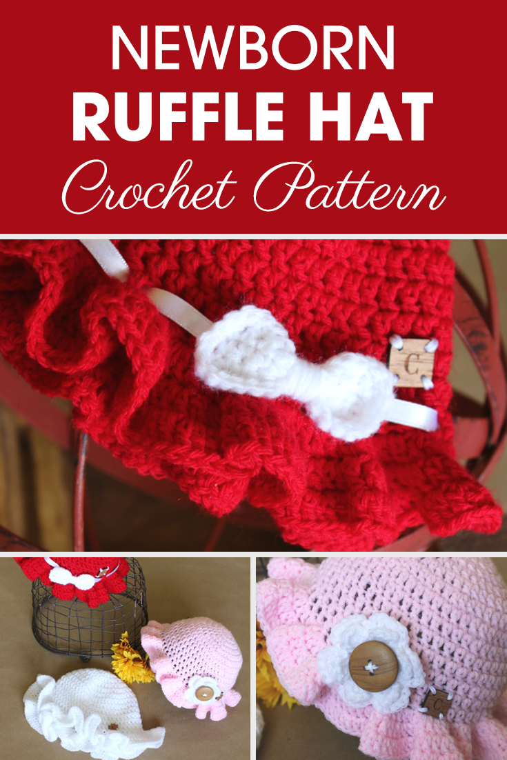 The Newborn Ruffle Hat is great for fun in the sun for your new baby or grand baby. Get a little extra help from Ashley with the video tutorial. #crochet #crochetlove #crochetaddict #crochetpattern #crochetinspiration #ilovecrochet #crochetgifts #crochet365 #addictedtocrochet #yarnaddict #yarnlove #crochethat