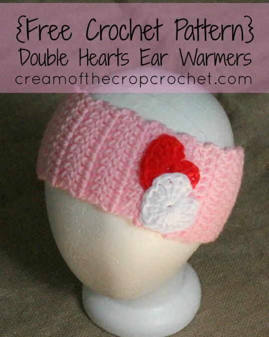 Cream Of The Crop Crochet ~ Double Hearts Ear Warmers {Free Crochet Pattern}