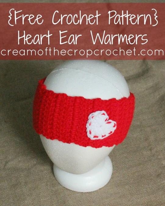 Cream Of The Crop Crochet ~ Heart Ear Warmers {Free Crochet Pattern}