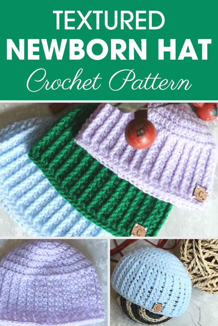 This Textured Newborn Hat is great for a baby boy (or girl) for a baby shower gift! Get a little extra help from Ashley with her video tutorial if needed. #crochet #crochetlove #crochetaddict #crochetpattern #crochetinspiration #ilovecrochet #crochetgifts #crochet365 #addictedtocrochet #yarnaddict #yarnlove #crochethat #crochetbabyhat #texturedcrochet