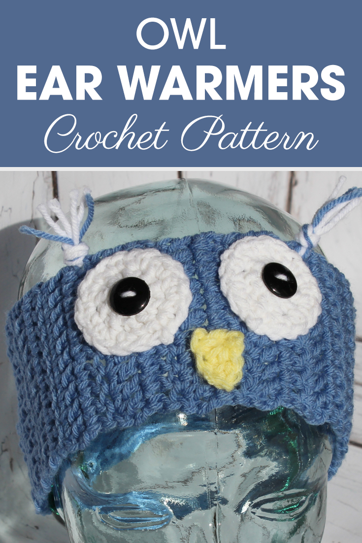 Change the color of these owl ear warmers from blue to pink for very cute, girly ear warmers! #crochet #crochetlove #crochetaddict #crochetpattern #crochetinspiration #ilovecrochet #crochetgifts #crochet365 #addictedtocrochet #yarnaddict #yarnlove #crochethat