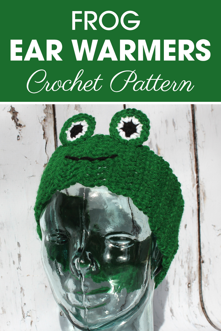Do you have a boy in your life that loves frogs? Make these frog ear warmers for him! Make this for little boys by leaving out rows! #crochet #crochetlove #crochetaddict #crochetpattern #crochetinspiration #ilovecrochet #crochetgifts #crochet365 #addictedtocrochet #yarnaddict #yarnlove #crochetaccessory