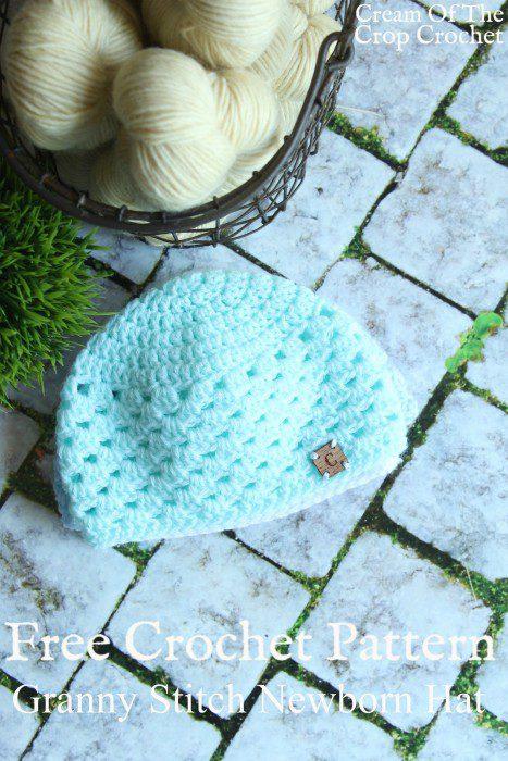 Granny Stitch Newborn Hat | Cream Of The Crop Crochet