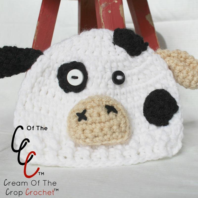 Cream Of The Crop Crochet ~ Preemie Newborn Cow Hats  Free Crochet Pattern   ... a3377b5abc9