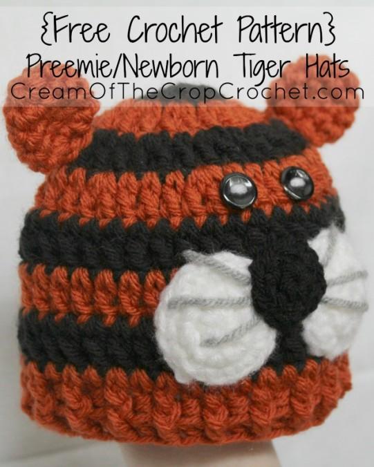 Cream Of The Crop Crochet ~ Preemie/Newborn Tiger Hats {Free Crochet Pattern}