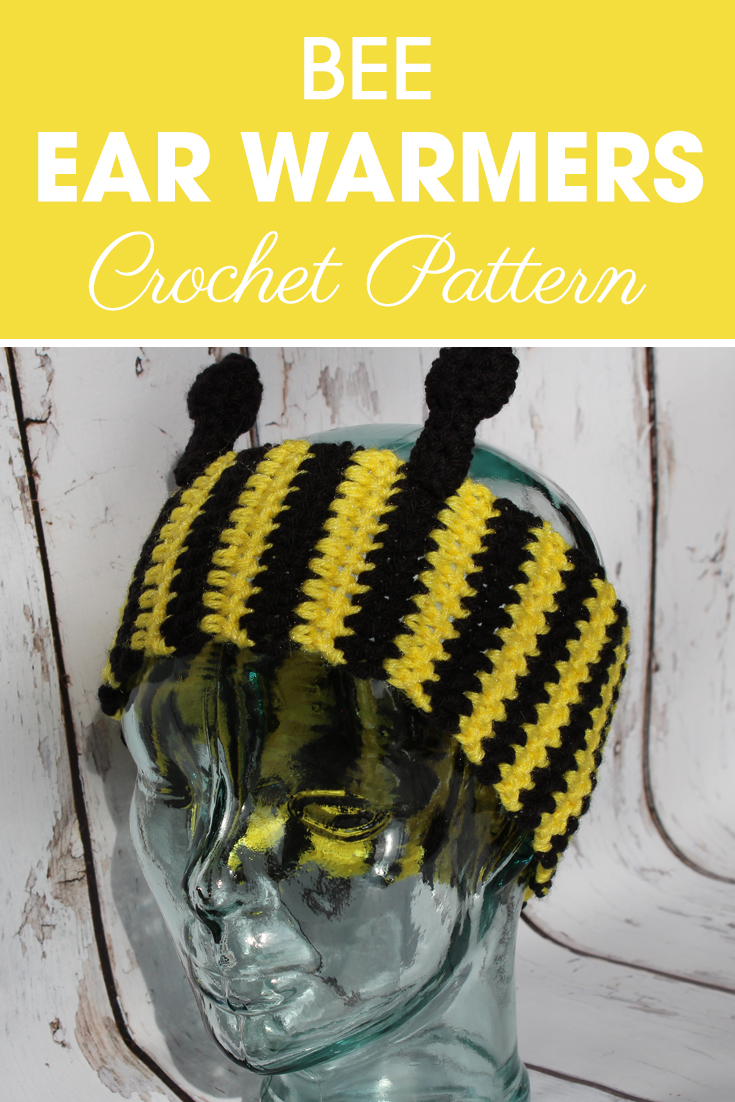 You can buzzzz your way to spring with these bee ear warmers! #crochet #crochetlove #crochetaddict #crochetpattern #crochetinspiration #ilovecrochet #crochetgifts #crochet365 #addictedtocrochet #yarnaddict #yarnlove #crochetaccessory