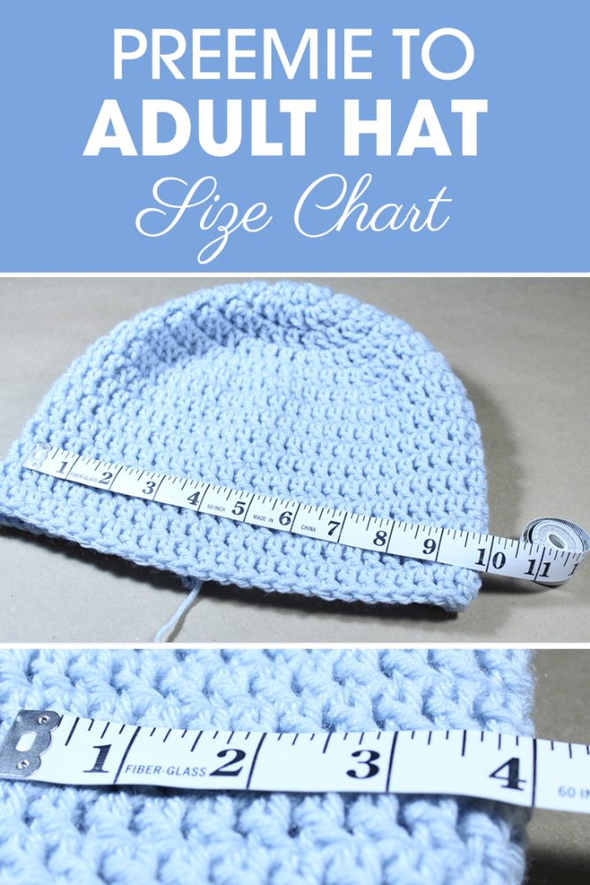 If you are looking to adjust a hat size or simply make your own hat design, you may find this Preemie to Adult Hat Size Chart helpful! #crochet #crochettips #crochetfaqs #crochetsizes #crochethat