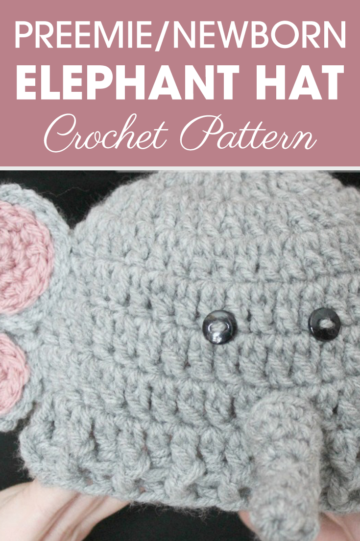 I am loving these preemie/newborn animal hats! Are you? This Preemie/Newborn Elephant Hats pattern would adorable on a little preemie or newborn. #crochet #crochetlove #crochetaddict #crochetpattern #crochetinspiration #ilovecrochet #crochetgifts #crochet365 #addictedtocrochet #yarnaddict #yarnlove #crochethat