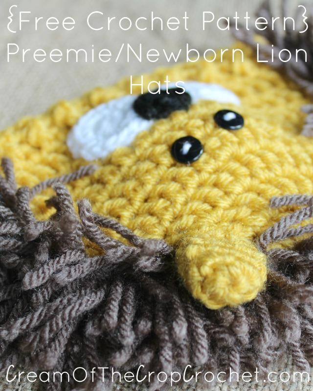 Cream Of The Crop Crochet Preemienewborn Lion Hats Free Crochet