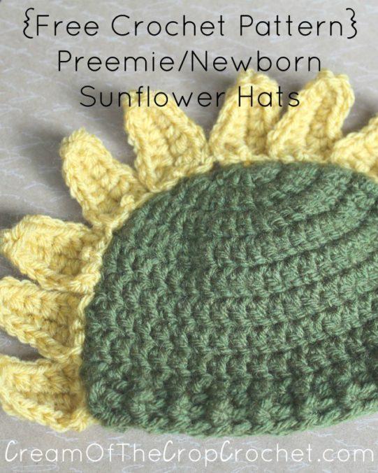 Cream Of The Crop Crochet ~ Preemie/Newborn Sunflower Hats {Free Crochet Pattern}