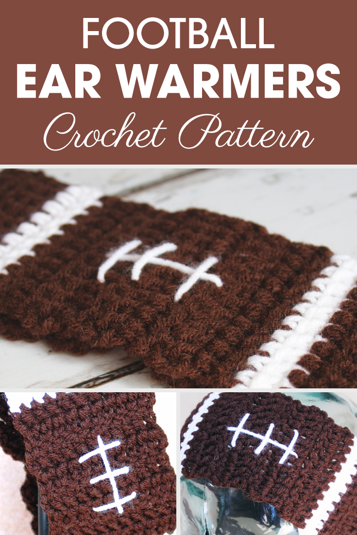 These Football Ear Warmers can be make for any size (kids, teen, adult) with some easy adjustments! #crochet #crochetlove #crochetaddict #crochetpattern #crochetinspiration #ilovecrochet #crochetgifts #crochet365 #addictedtocrochet #yarnaddict #yarnlove #crochetearwarmer #crochetaccessory