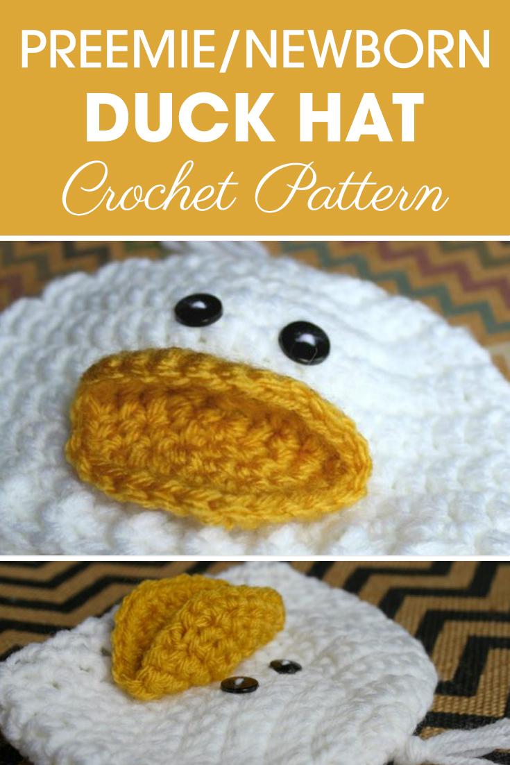 Preemie Newborn Duck Hat Crochet Pattern Cream Of The Crop Crochet