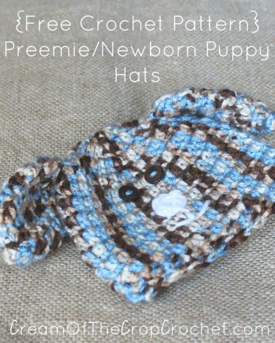 Cream Of The Crop Crochet ~ Preemie/Newborn Puppy Hats {Free Crochet Pattern}