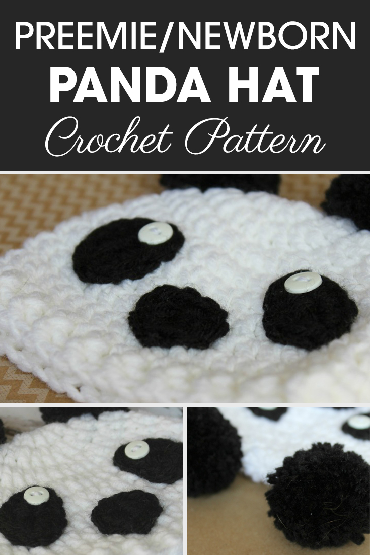 Make an adorable panda hat for a zoo theme in your local NICU. Sometimes I love to make pom poms for ears. #crochet #crochetlove #crochetaddict #crochetpattern #crochetinspiration #ilovecrochet #crochetgifts #crochet365 #addictedtocrochet #yarnaddict #yarnlove #crochethat