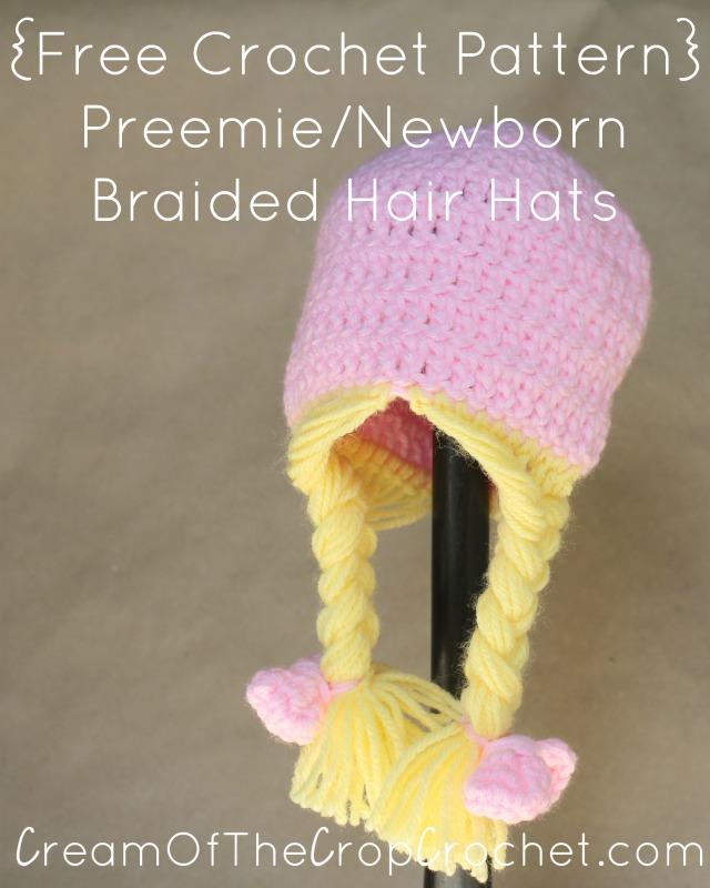 Preemie Newborn Braided Hair Hat Crochet Pattern Cream Of The Crop