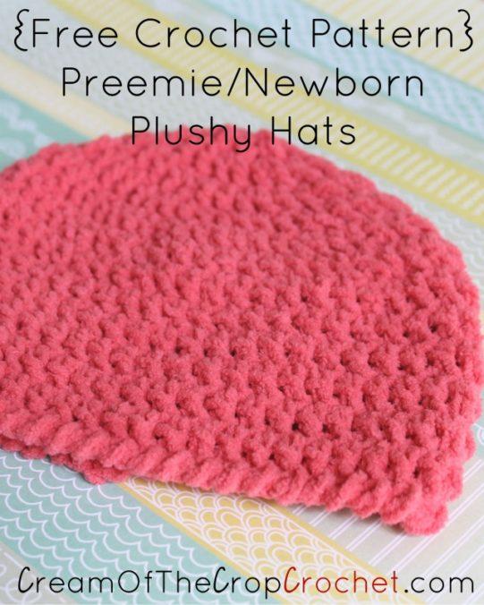 Cream Of The Crop Crochet ~ Preemie/Newborn Plushy Hats {Free Crochet Pattern}