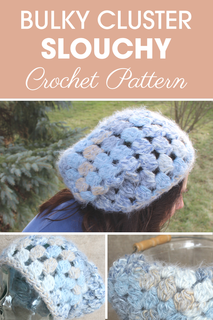 This Cluster Slouchy reminds me of winter snow, which is perfect for this time of year. It is easy and fast to work up, all you need to know is basic stitches and the cluster stitch! I also made a matching cowl to go with it. #crochet #crochetlove #crochetaddict #crochetpattern #crochetinspiration #ilovecrochet #crochetgifts #crochet365 #addictedtocrochet #yarnaddict #yarnlove #crochethat