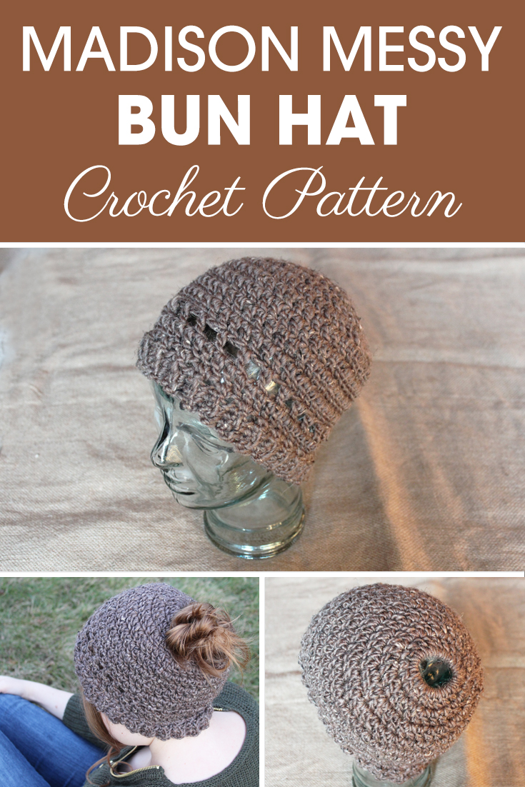 This Madison Messy Bun Hat is stylish with the row of mesh stitches above the ribbing, and is fast and easy to make! #crochet #crochetlove #crochetaddict #crochetpattern #crochetinspiration #ilovecrochet #crochetgifts #crochet365 #addictedtocrochet #yarnaddict #yarnlove #crochethat