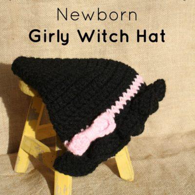 Newborn Girl Witch Hat Crochet Pattern