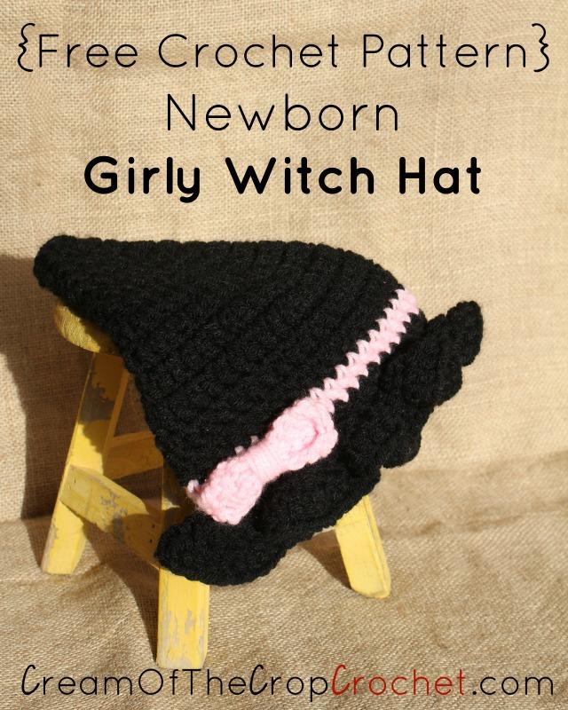 Newborn Girl Witch Hat Crochet Pattern | Cream Of The Crop Crochet