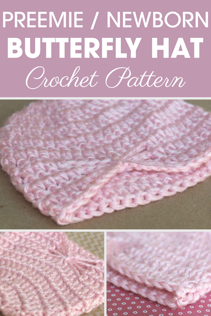 This Preemie/Newborn Lacy Butterfly Hats pattern has the adorable lacy effect while keeping it simple and easy. This hat that looks hard to make simply uses the basic stitches. #crochet #crochetlove #crochetaddict #crochetpattern #crochetinspiration #ilovecrochet #crochetgifts #crochet365 #addictedtocrochet #yarnaddict #yarnlove #crochethat #crochetscarf #crochetbeanie #crochetcowl #crochetblanket #crochetbabyblanket #crochetaccessory