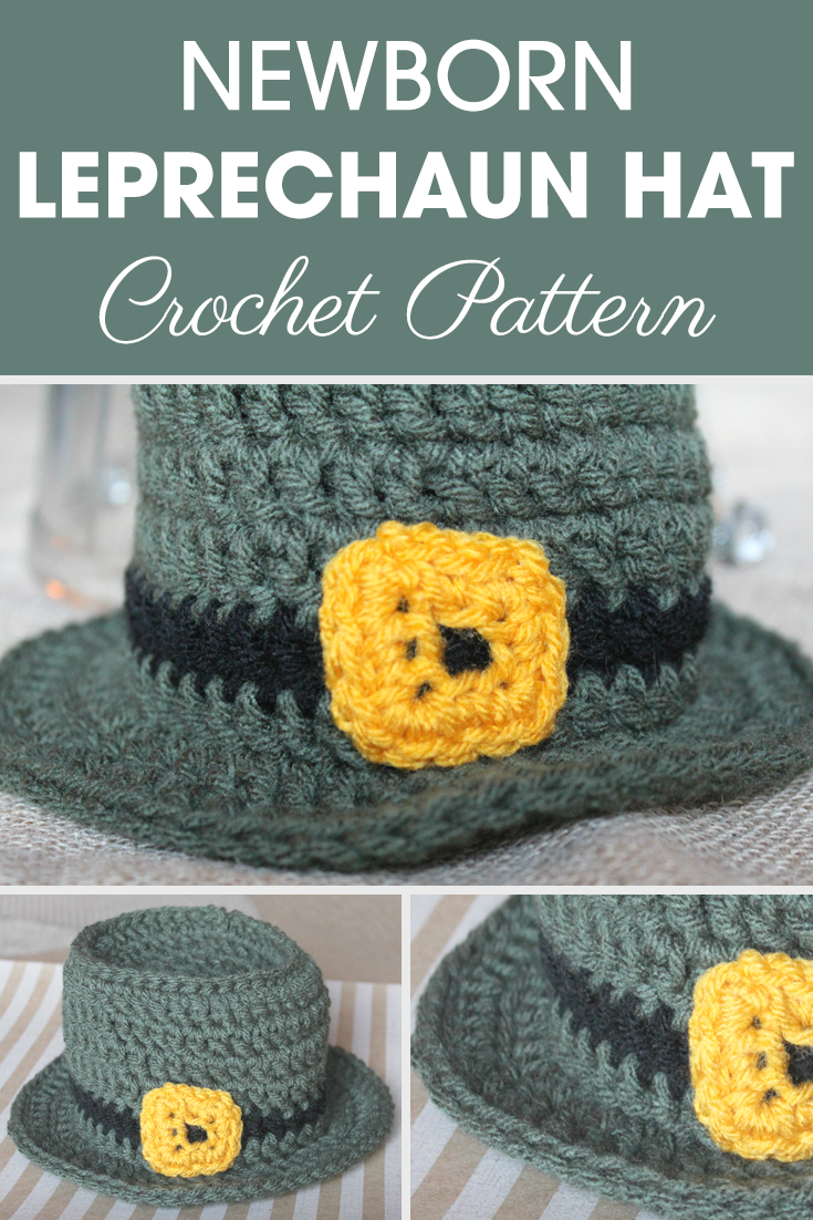 This Newborn Leprechaun Hat is yet another great photo prop hat, and adorable for the holidays! #crochet #crochetlove #crochetaddict #crochetpattern #crochetinspiration #ilovecrochet #crochetgifts #crochet365 #addictedtocrochet #yarnaddict #yarnlove #crochethat