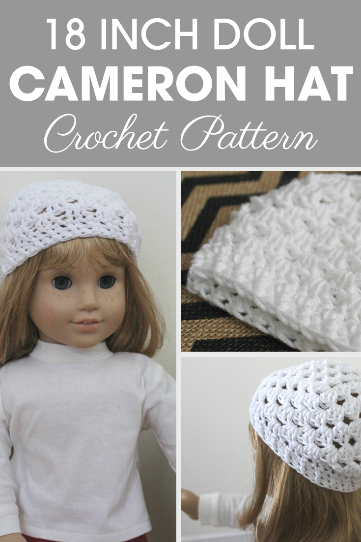 This 18 Inch Doll Cameron Hat is an adorable hat for a doll! #crochet #crochetlove #crochetaddict #crochetpattern #crochetinspiration #ilovecrochet #crochetgifts #crochet365 #addictedtocrochet #yarnaddict #yarnlove #crochethat #crochetdoll
