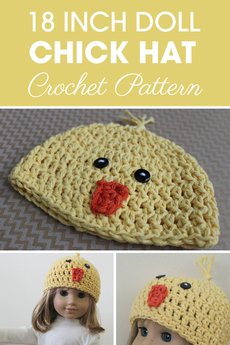 This 18 Inch Doll Chick Hat is great for Easter! #crochet #crochetlove #crochetaddict #crochetpattern #crochetinspiration #ilovecrochet #crochetgifts #crochet365 #addictedtocrochet #yarnaddict #yarnlove #crochethat #crochetdoll