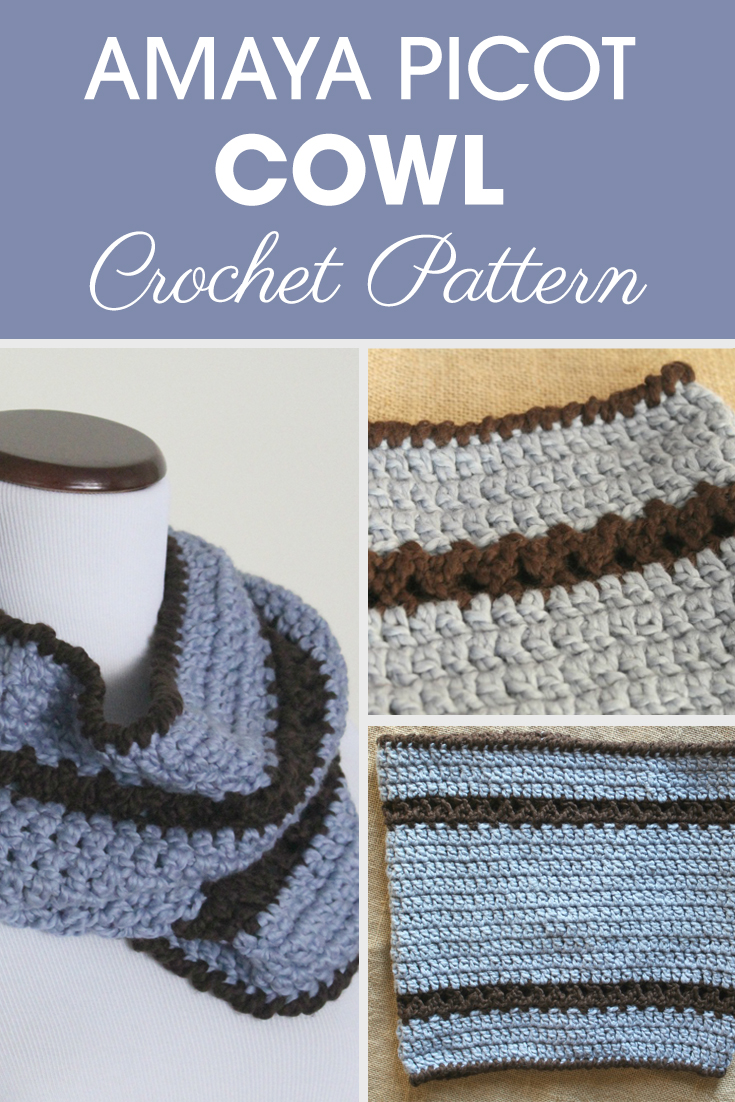 This Picot Cowl is a great pattern to use your bulky yarn! #crochet #crochetlove #crochetaddict #crochetpattern #crochetinspiration #ilovecrochet #crochetgifts #crochet365 #addictedtocrochet #yarnaddict #yarnlove #crochetaccessory #crochetcowl