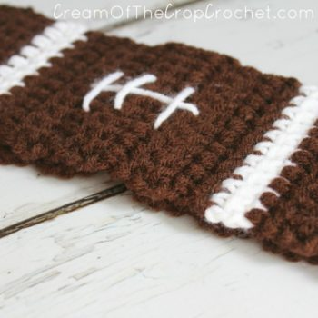 Football Ear Warmers Crochet Pattern | Cream Of The Crop Crochet