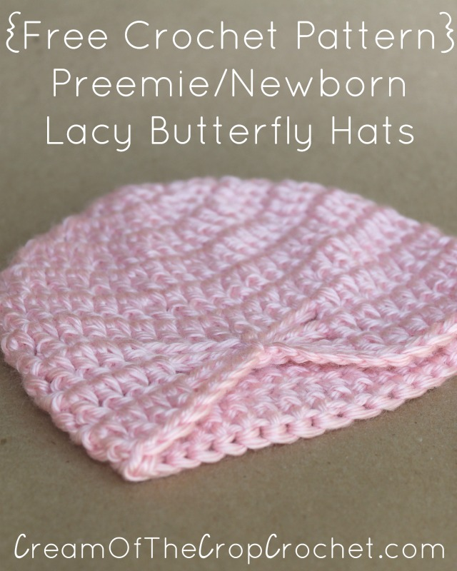 Preemie Newborn Lacy Butterfly Hat Crochet Pattern Cream Of The